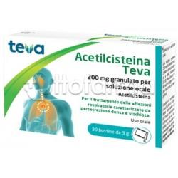 Teva Acetilcisteina 200mg 30 Bustine (Equivalente Fluimucil 200mg)