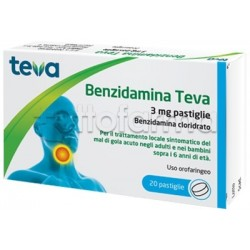 Teva Benzidamina 3mg 20 Pastiglie (Equivalente Tantum Verde Pastiglie)