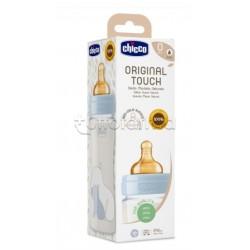 Chicco Original Touch Biberon in Vetro Bimbo Azzurro Flusso Lento 240ml 1 Pezzo