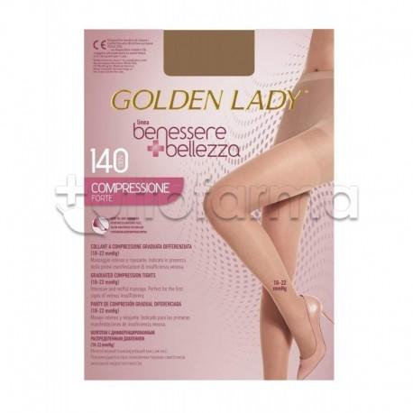 Golden Lady Collant a Compressione Graduata Forte 140 Denari Velato Dorè XL