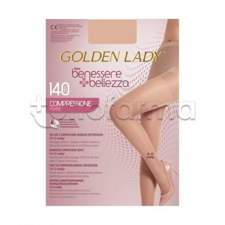 Golden Lady Collant a Compressione Graduata Forte 140 Denari Velato Playa XL