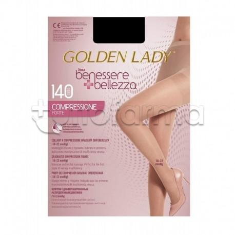 Golden Lady Collant a Compressione Graduata Forte 140 Denari Velato Nero S