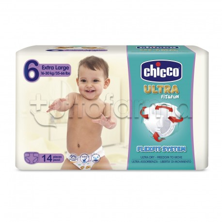 Chicco Pannolino Ultra Extra Large Taglia 6 16-30Kg 14 Pezzi