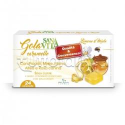 Sanavita Gola Caramelle Miele e Limone per Benessere della Gola 24 Caramelle