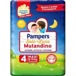 Pampers Sole e Luna Mutandino Maxi Pannolini per Bambini Taglia 4 (8-15Kg) 15 Pezzi