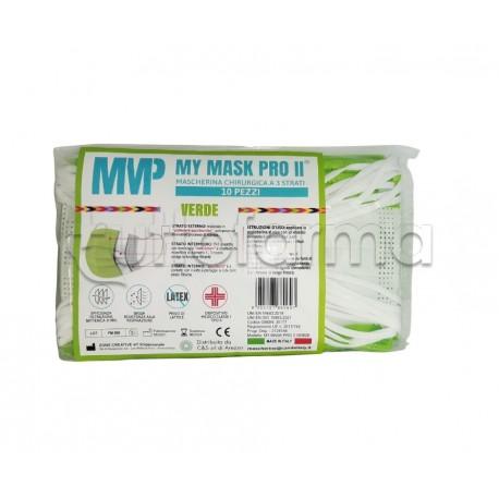 Mascherina Chirurgica Monouso a Triplo Strato My Mask Pro Verde - Confezione 10 Pezzi - 20 Centesimi a Mascherina