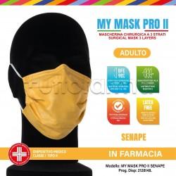 Mascherina Chirurgica Monouso a Triplo Strato My Mask Pro Gialla - Confezione 10 Pezzi - 20 Centesimi a Mascherina