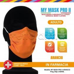 Mascherina Chirurgica Monouso a Triplo Strato My Mask Pro Arancione - Confezione 10 Pezzi - 20 Centesimi a Mascherina
