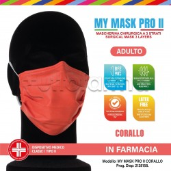 Mascherina Chirurgica Monouso a Triplo Strato My Mask Pro Corallo - Confezione 10 Pezzi - 20 Centesimi a Mascherina