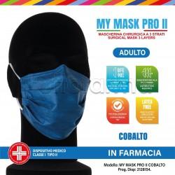 Mascherina Chirurgica Monouso a Triplo Strato My Mask Pro Cobalto - Confezione 10 Pezzi - 20 Centesimi a Mascherina