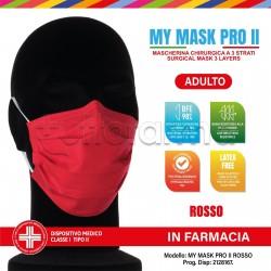 Mascherina Chirurgica Monouso a Triplo Strato My Mask Pro Rossa - Confezione 10 Pezzi - 20 Centesimi a Mascherina