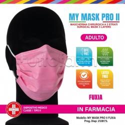 Mascherina Chirurgica Monouso a Triplo Strato My Mask Pro Fuxia - Confezione 10 Pezzi - 20 Centesimi a Mascherina