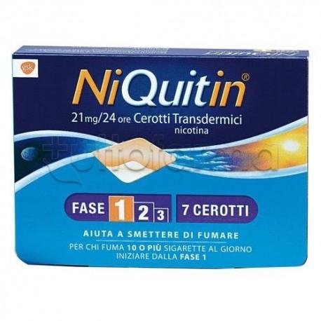NiQuitin 7 Cerotti Transdermici 21 mg/24 h Nicotina per Disassuefazione da Sigarette