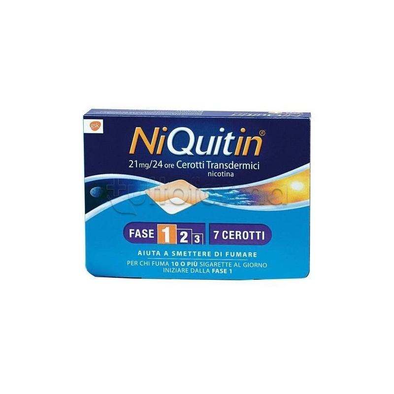Niquitin 7 cerotti transdermici 21 mg 24 h nicotina per for Farmaci per smettere di fumare