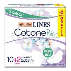 Lines Cotone Bio Ultra Assorbenti Giorno con Ali 10 + 2 Pezzi Omaggio