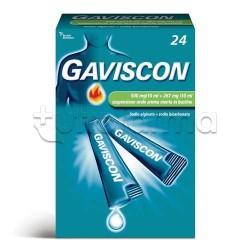 Gaviscon 24 Bustine Antiacido Aroma Menta 500 + 267 mg/10 ml per Bruciore di Stomaco e Reflusso