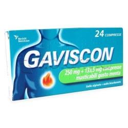 Gaviscon 24 Compresse Masticabili Aroma Menta 250 +133,5 mg per Bruciore di Stomaco e Reflusso