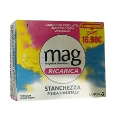 Mag Ricarica 24 Ore Integratore per Stanchezza Aroma Limone 10 + 10 Bustine