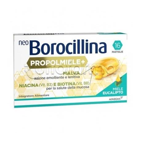 Neoborocillina Propolmiele+ Integratore per la Gola Gusto Miele e Eucalipto 16 Pastiglie