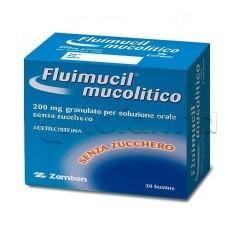 Fluimucil Mucolitico Soluzione Orale 30 Bustine Senza Zucchero 200 mg per Tosse e Catarro