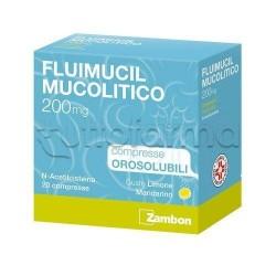 Fluimucil Mucolitico 20 Compresse Orosolubili 200 mg per Tosse e Catarro