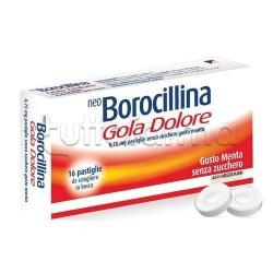 Neoborocillina Gola Dolore 16 Pastiglie Senza Zucchero per Mal di Gola