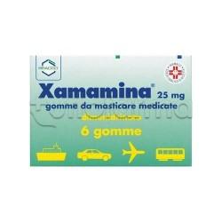 Xamamina 6 Gomme Masticabili 25 mg per Non Patire la Macchina la Nave e l'Aereo