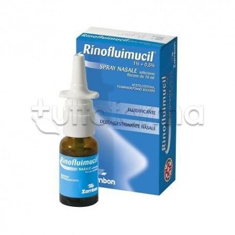 RinoFluimucil Spray Nasale 10 ml Fludificante e Decongestionante per Liberare Naso Chiuso