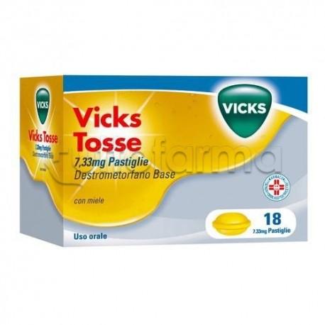 Vicks Tosse 12 Pastiglie 7,33 mg Miele Sedativo della Tosse