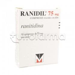 Ranidil 75 10 Compresse 75 mg per Bruciore e Acidità di Stomaco