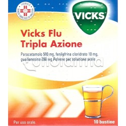 Vicks Flu Tripla Azione Polvere 10 Buste Decongestionante Mucolitico e per Febbre e Dolore
