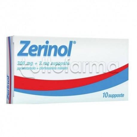 Zerinol 10 Supposte 300 mg + 2 mg per Raffreddore e Influenza