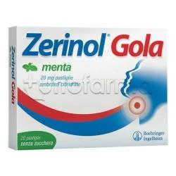 Zerinol Gola Menta 18 Pastiglie 20 mg per Ridurre Mal di Gola