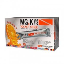 MGK VIS Pocket Stick Integratore con Magnesio e Potassio 12 Bustine Liquide gusto Arancia