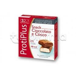 Protiplus Barretta Snack Proteico per Perdita di Peso 6 Pezzi Gusto Cioccolato e Cocco