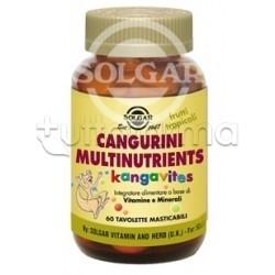 Solgar Cangurini Multinutrients Integratore MultiVitaminico 60 Tavolette Masticabili Frutti Tropicali