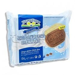Happy Farm Snakis Biscotto Ricoperto di Cioccolato al Latte Senza Glutine 106g